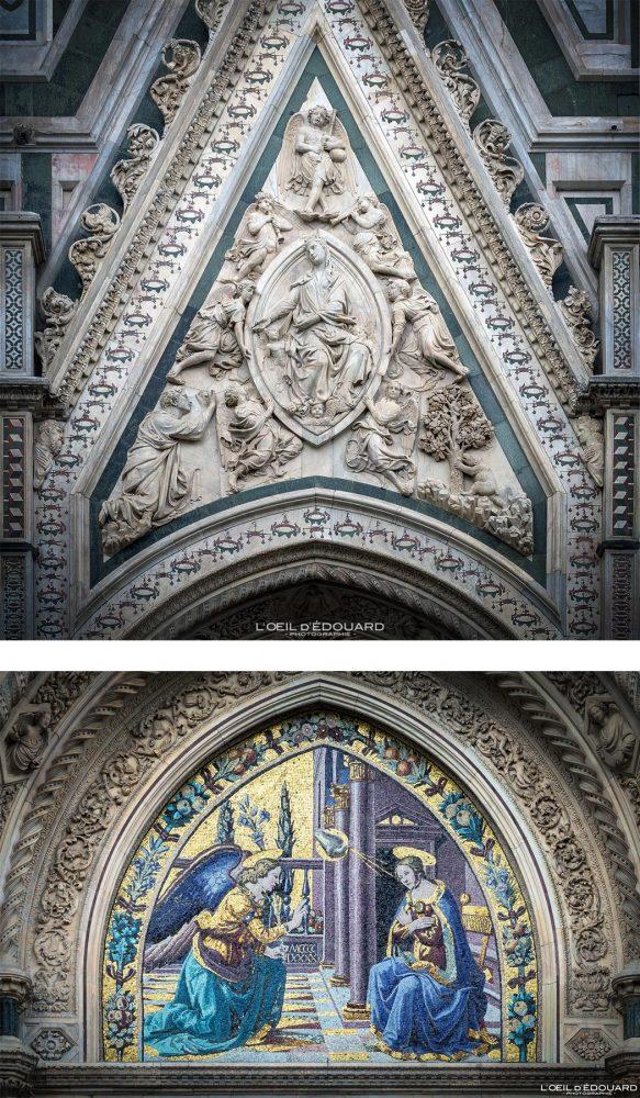 Bas-relief et mosaïque Cathédrale de Florence Toscane Italie - Porta della Mandorla Cattedrale di Santa Maria del Fiore Duomo Firenze Toscana Italia Tuscany Italy church architecture Renaissance