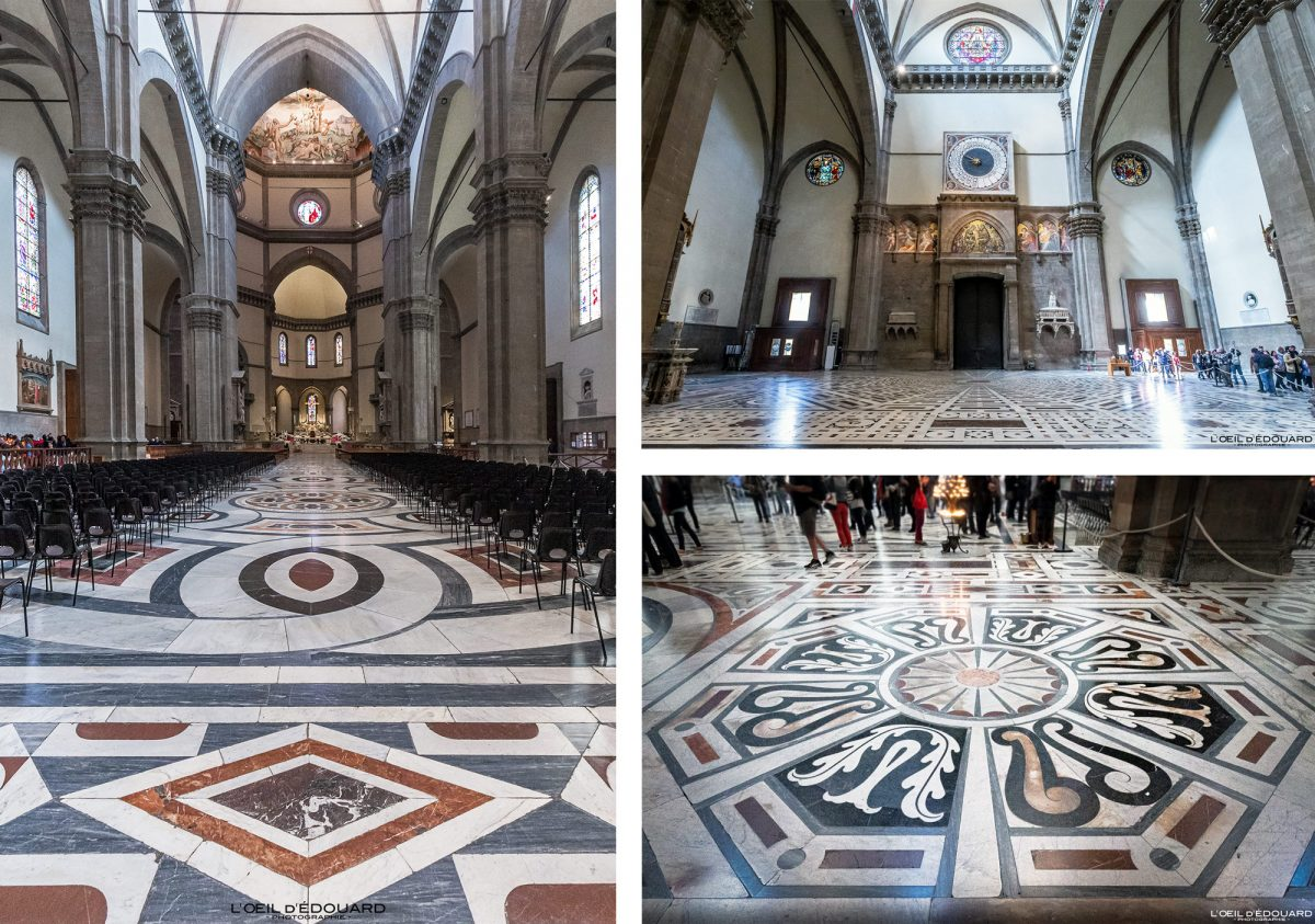 Pavement sol nef intérieur Cathédrale de Florence Toscane Italie - Cattedrale di Santa Maria del Fiore Duomo Firenze Toscana Italia Tuscany Italy architecture church floor