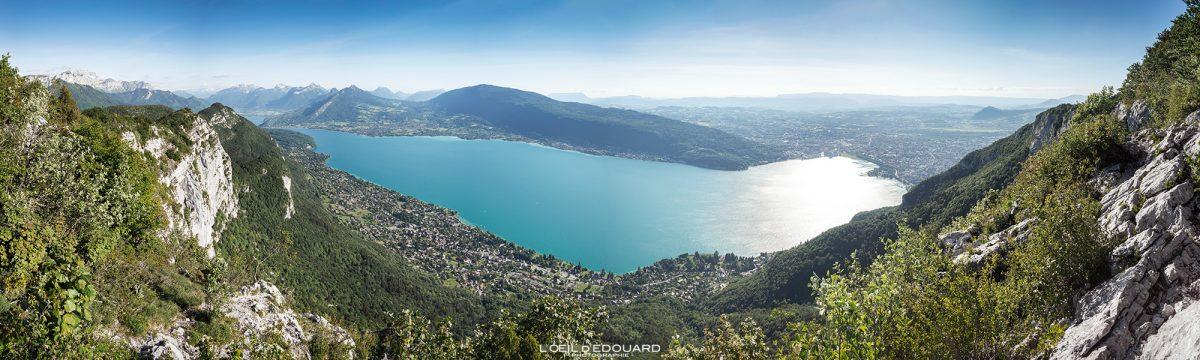Mont Baron vue panorama sur le Lac d'Annecy - Randonnée Mont Veyrier - Annecy Haute-Savoie Alpes France Paysage Montagne - Mountain Landscape French Alps Outdoor Hike Hiking panoramic view lake
