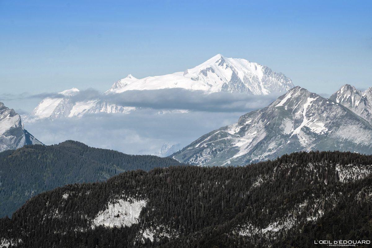 Le Mont Blanc et le Col des Aravis, vue du sommet depuis le Mont Baron - Mont Veyrier Annecy Haute-Savoie Alpes France Paysage Montagne - Mountain Landscape French Alps Outdoor Hike Hiking view