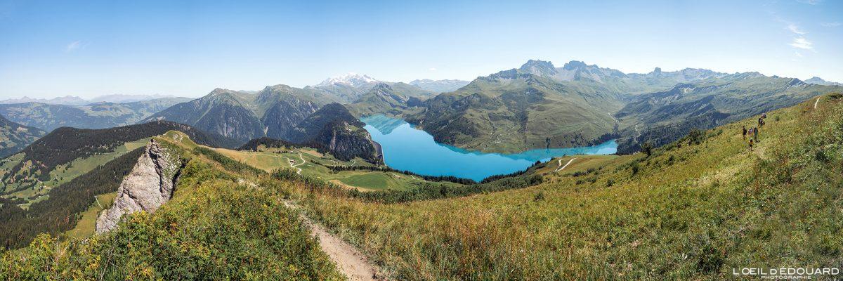 Vue panorama depuis la Roche Parstire sur le Lac de Roselend Massif du Beaufortain Savoie Alpes France Paysage Montagne - Landscape Mountain Lake French Alps Outdoor Hike Hiking