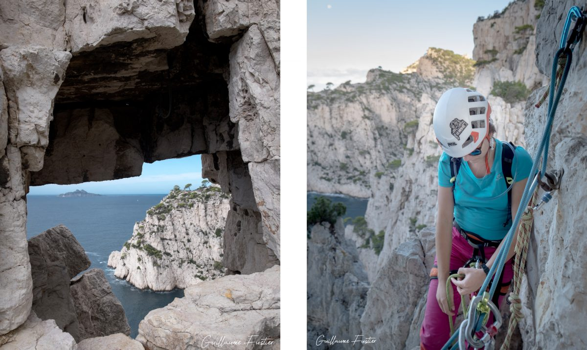 Escalade dans les Calanques : Trou du Canon Traversée Ramond Calanque d'En-Vau, Cassis Bouches-du-Rhône Provence-Alpes-Côte d'Azur France - Rock Climbing Outdoor