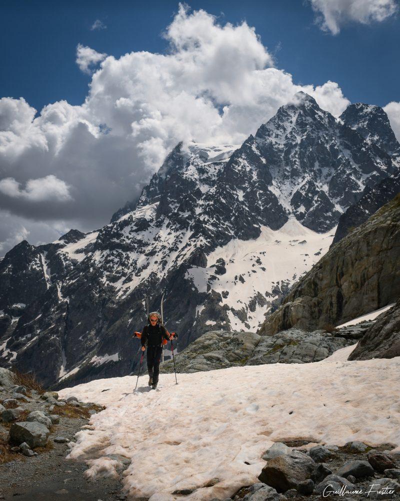 Mont Pelvoux Approche randonnée Glacier Blanc Hautes-Alpes Paysage Montagne neige France Outdoor French Alps Mountain Landscape snow