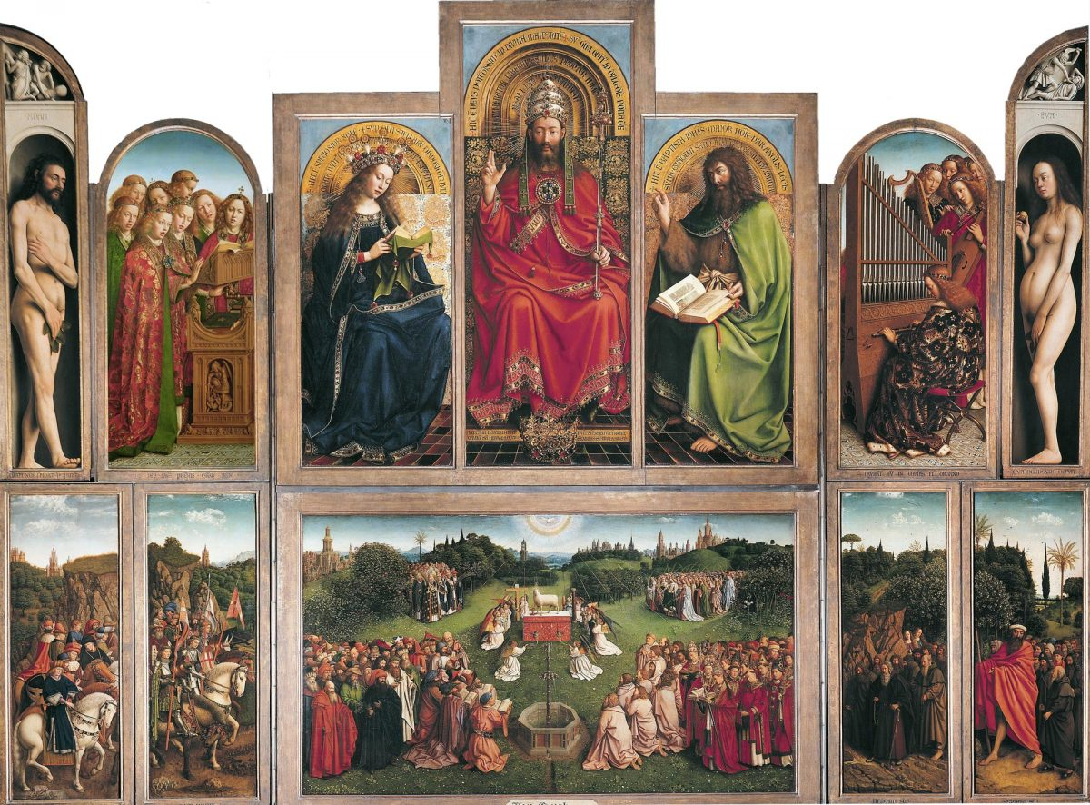"""Retable """"Adoration de l'Agneau mystique"""" (1432) Jan VAN EYCK - Cathédrale Saint-Bavon Gand Belgique / Polyptych Saint Bavo Cathedral Ghent Belgium Art Painting"""