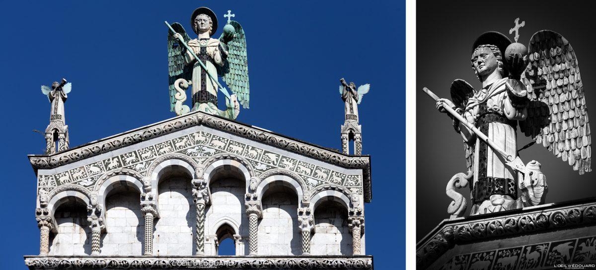 Sculpture statue Saint-Michel terrassant le dragon Église de Lucques Toscane Italie Voyage Tourisme - Chiesa San Michele in Foro Lucca Toscana Italia Travel Italy Tuscany Italian church architecture