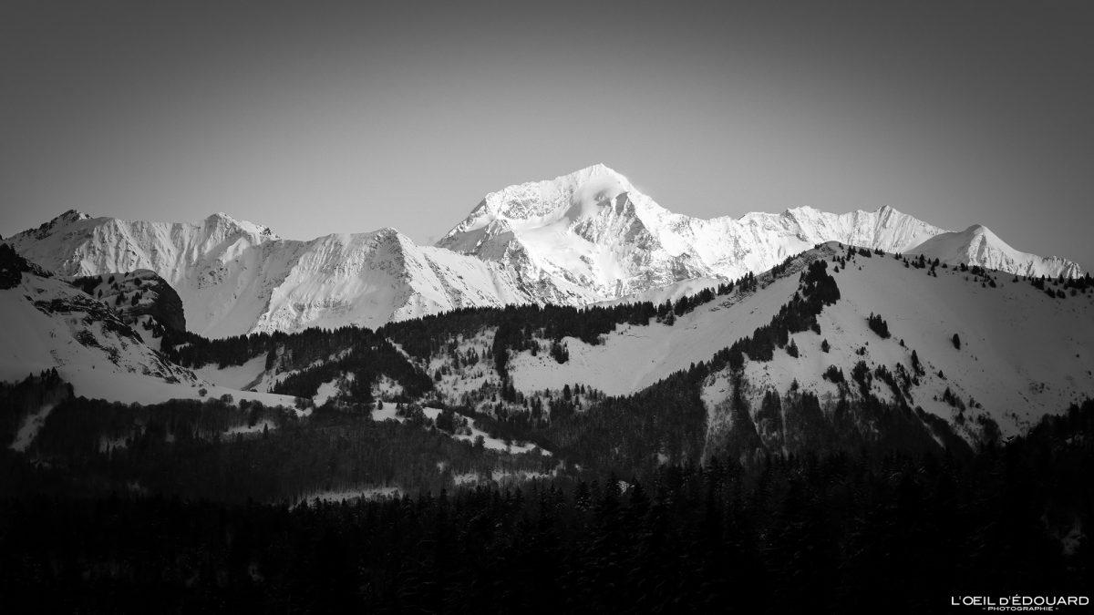 Le Mont Pourri en hiver depuis la Croix des Bergers Randonnée Raquettes Le Revard Massif des Bauges Savoie Alpes Paysage Montagne Neige France Outdoor snow winter French Alps Mountain Landscape