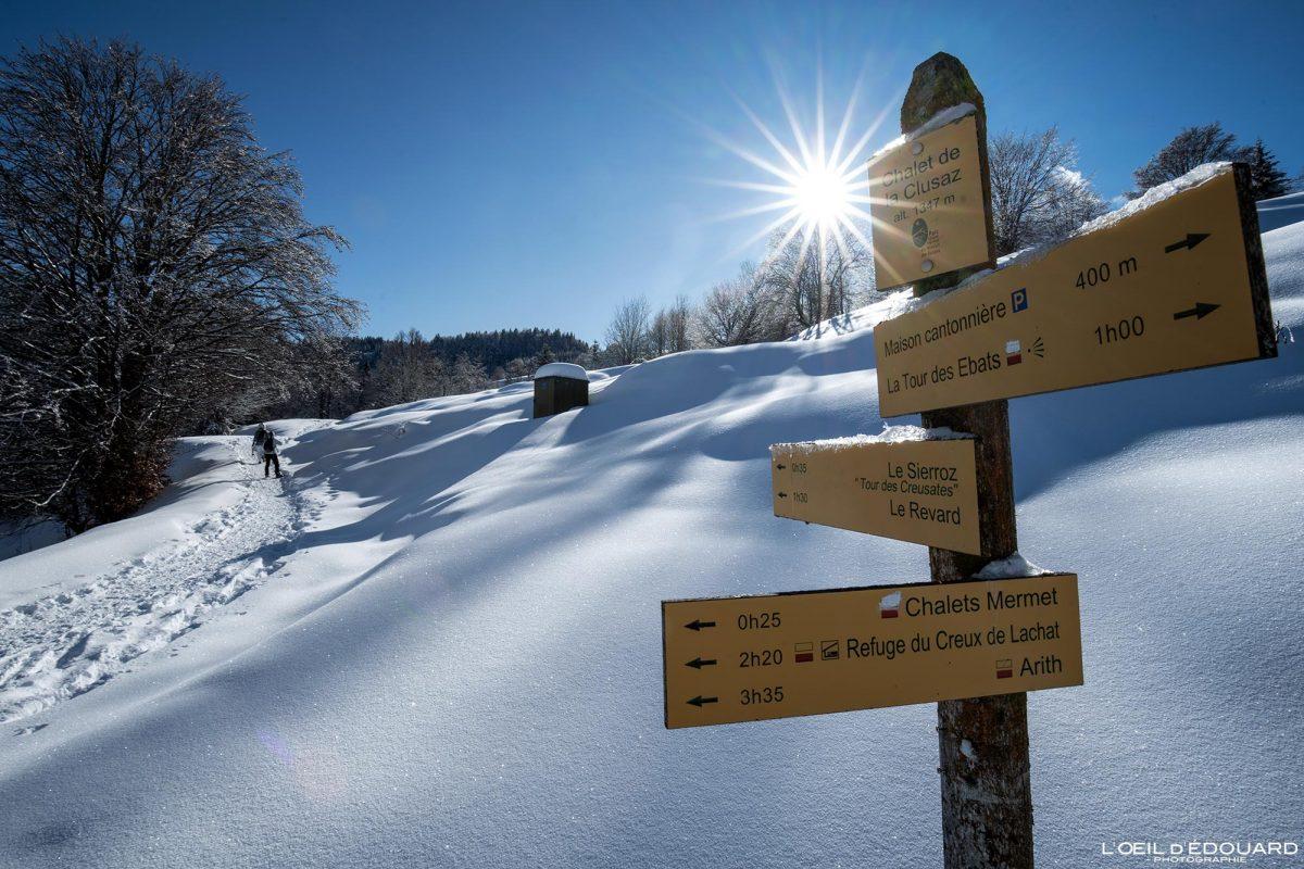 Randonnée Raquettes Chalets de La Clusaz Le Revard Massif des Bauges Savoie Alpes Paysage Montagne Hiver neige France Outdoor winter snow French Alps Mountain Landscape