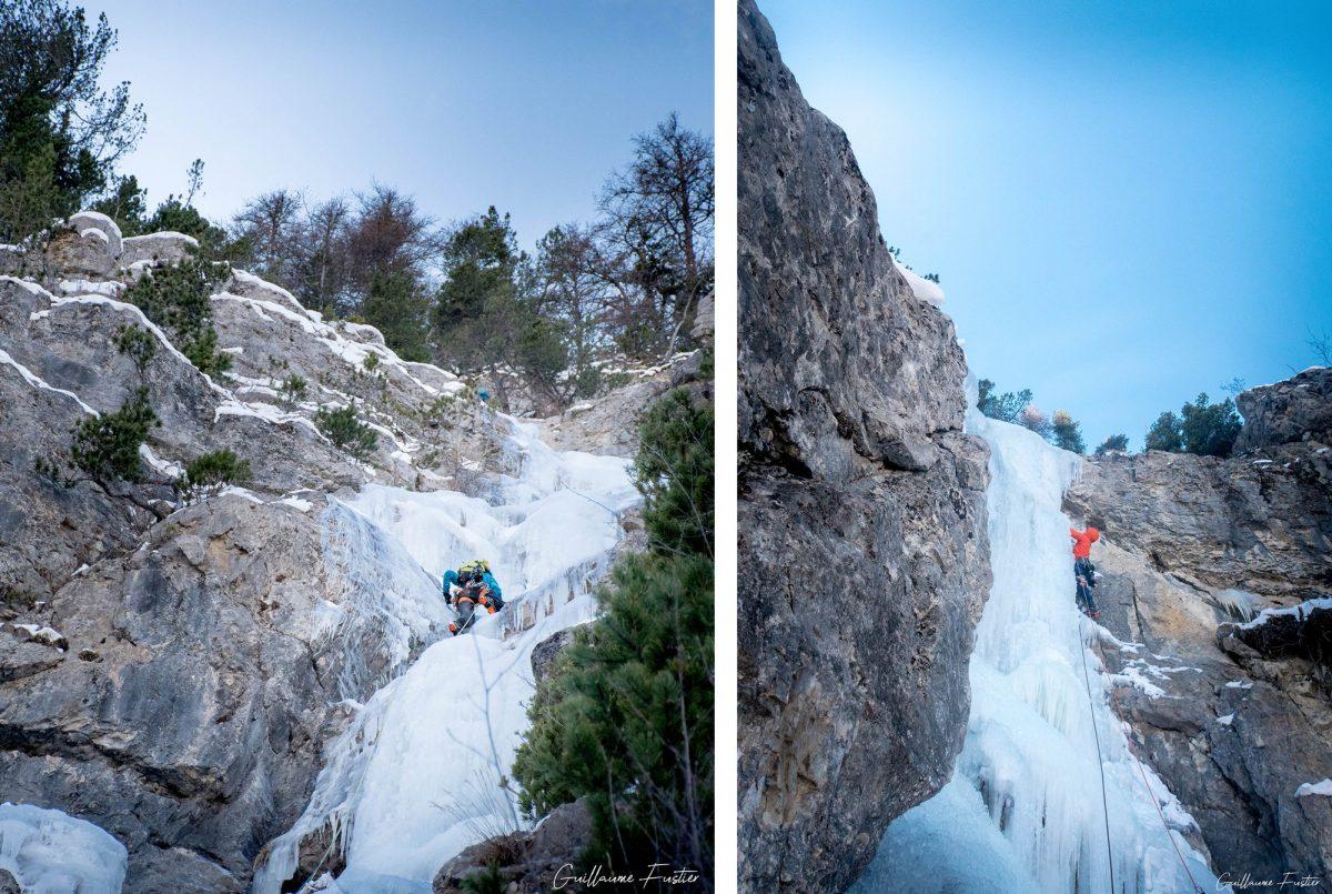 Alpinisme Cascade de Glace Nadia Les Orres Ubaye Hautes-Alpes Alpes France Montagne Hiver Outdoor Ice Climbing Mountaineering French Alps Mountain Winter