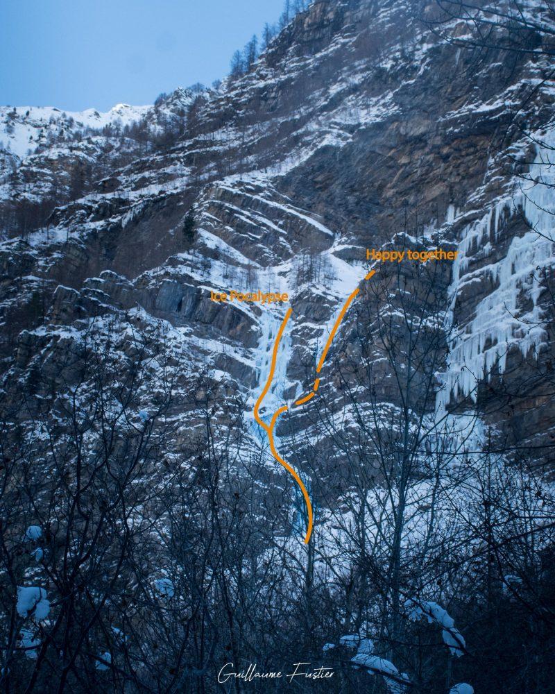 Alpinisme Cascade de Glace Happy together / Ice Pocalypse Freyssinière, Tête de Gramusat Massif des Écrins Hautes-Alpes Alpes France Montagne Hiver Outdoor Ice Climbing Mountaineering French Alps Mountain Winter