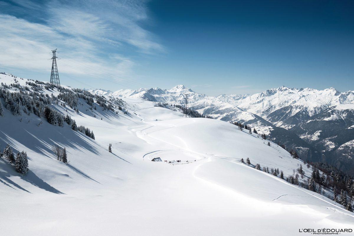 Lac du Bozon Hiver Grand Naves Ski de randonnée Le Quermoz Massif du Beaufortain Savoie Alpes Paysage Montagne Neige France Outdoor French Alps Mountain Landscape Winter Snow Ski Touring