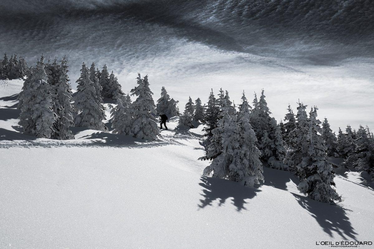 Ski de randonnée Le Quermoz depuis Grand Naves Massif du Beaufortain Savoie Alpes Paysage Forêt Montagne Hiver Neige France Outdoor French Alps Mountain Landscape Winter Forest Snow Ski touring