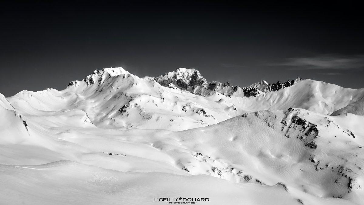 Mont Blanc vu depuis Le Quermoz Massif du Beaufortain Savoie Alpes Paysage Montagne Hiver Neige France Ski de Randonnée Outdoor French Alps Mountain Landscape Winter Snow Ski touring