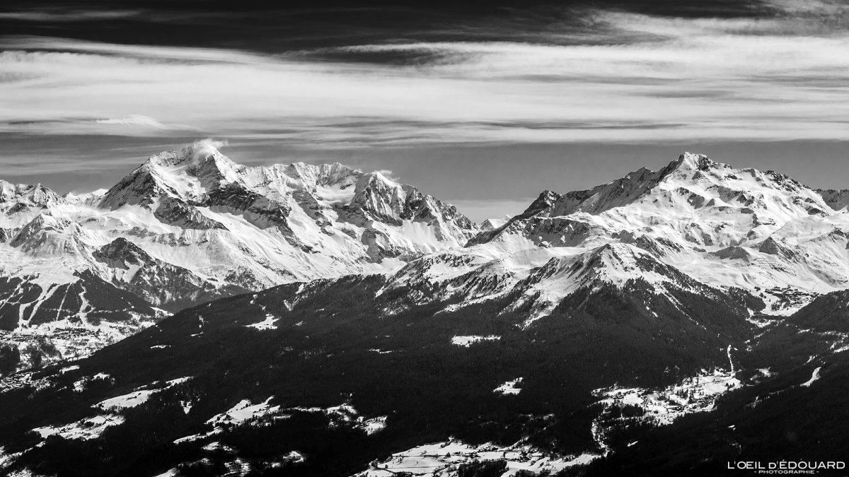 Massif de la Vanoise Mont Pourri vu depuis Le Quermoz Massif du Beaufortain Savoie Alpes France Paysage Montagne Ski de randonnée Hiver Neige Outdoor French Alps Mountain Landscape Winter Snow Ski touring