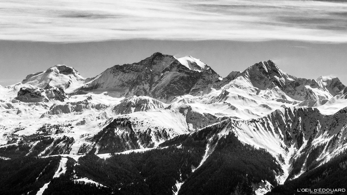 Massif de la Vanoise Grande Casse vue depuis Le Quermoz Massif du Beaufortain Savoie Alpes France Paysage Montagne Ski de randonnée Hiver Neige Outdoor French Alps Mountain Landscape Winter Snow Ski touring