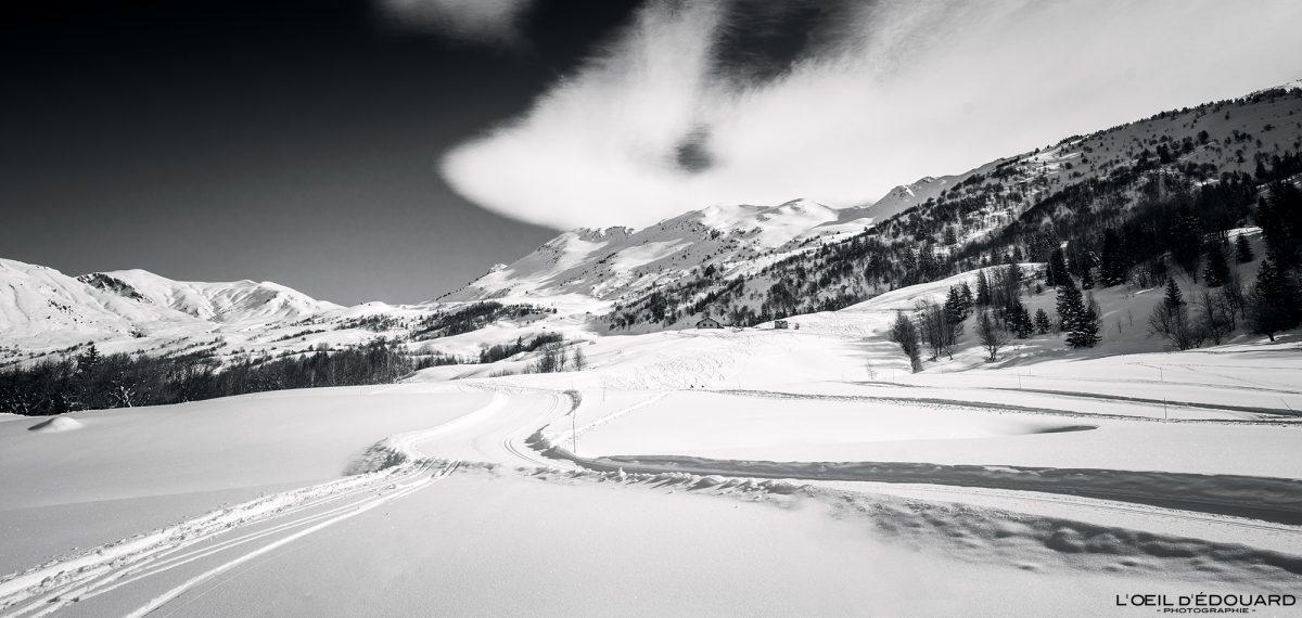 Piste Ski de Fond Grand Naves Massif du Beaufortain Savoie Alpes Paysage Montagne Hiver Neige France Outdoor French Alps Mountain Landscape Winter Snow