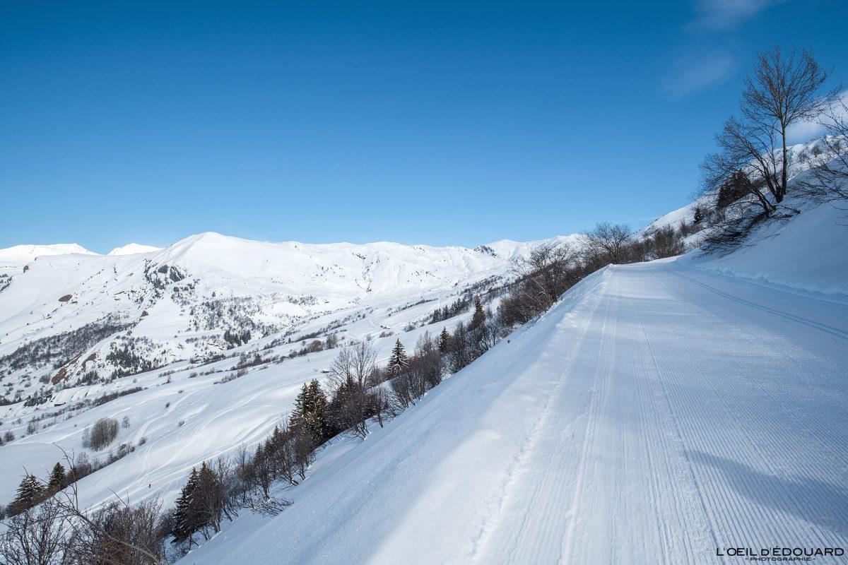 Piste Ski Nordique Grand Naves Massif du Beaufortain Savoie Alpes Paysage Montagne Hiver Neige France Outdoor French Alps Mountain Landscape Winter Snow