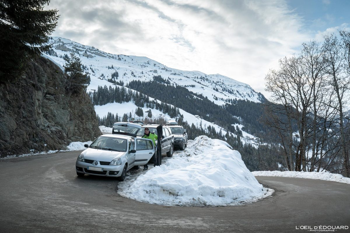 Parking Boudin Route du Col du Pré Massif du Beaufortain Savoie Alpes Paysage Montagne Hiver Neige France Outdoor French Alps Mountain Landscape Winter Snow