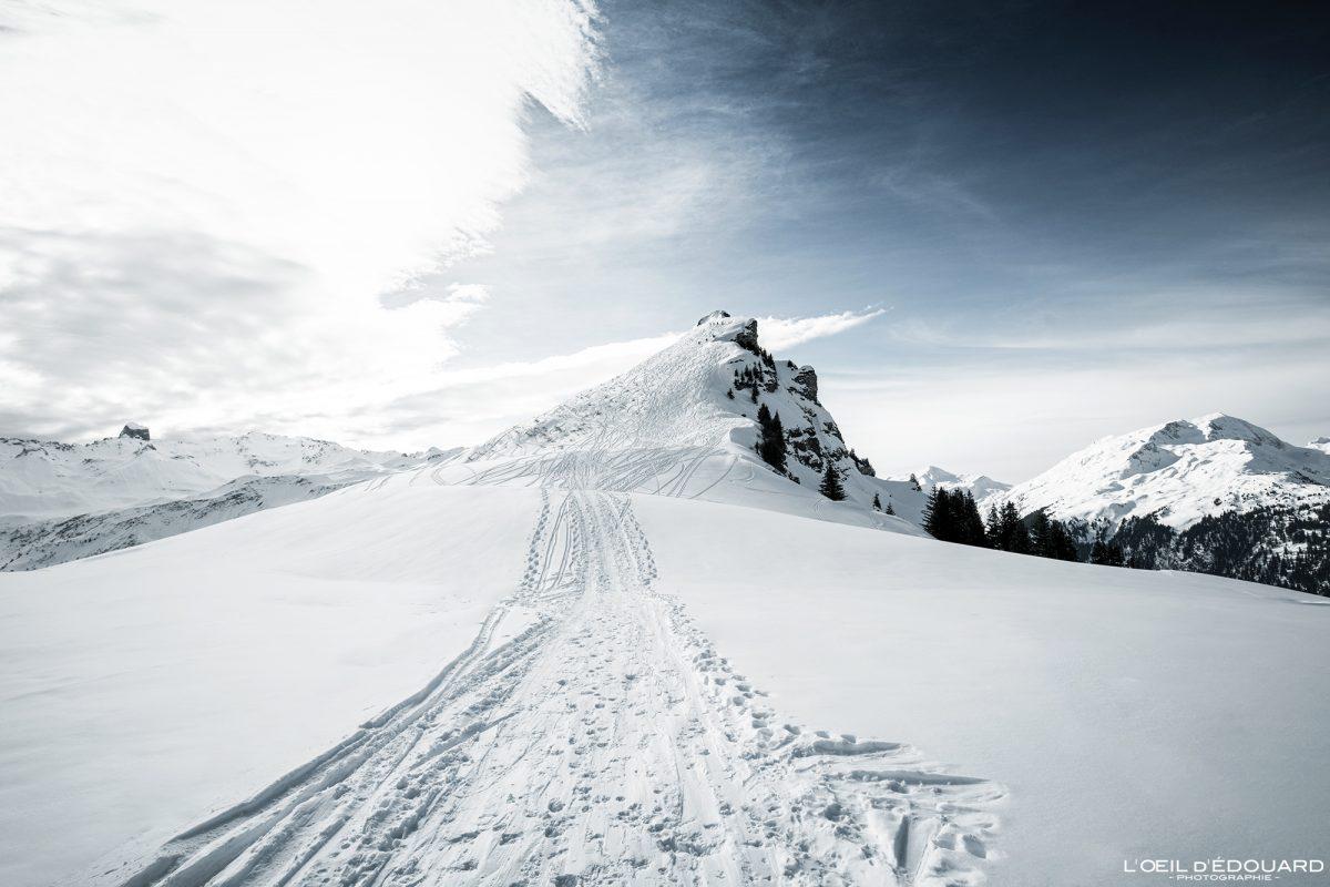 Ski de Randonnée Roche Parstire Hiver Massif du Beaufortain Savoie Alpes Paysage Montagne Neige France Outdoor French Alps Mountain Landscape Winter Snow Ski touring