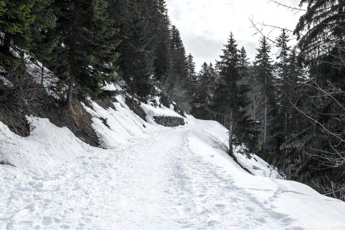 Raquettes Route du Col du Pré en hiver Massif du Beaufortain Savoie Alpes Paysage Montagne Neige France Outdoor French Alps Mountain Landscape Winter Snow