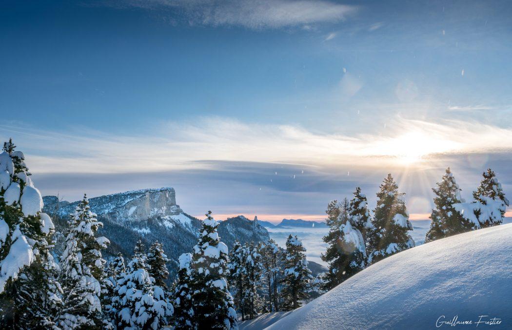 Coucher de soleil Hauts-Plateaux du Vercors Hiver Neige Paysage Montagne Isère Alpes France Outdoor French Alps Mountain Landscape Winter Snow Sunset
