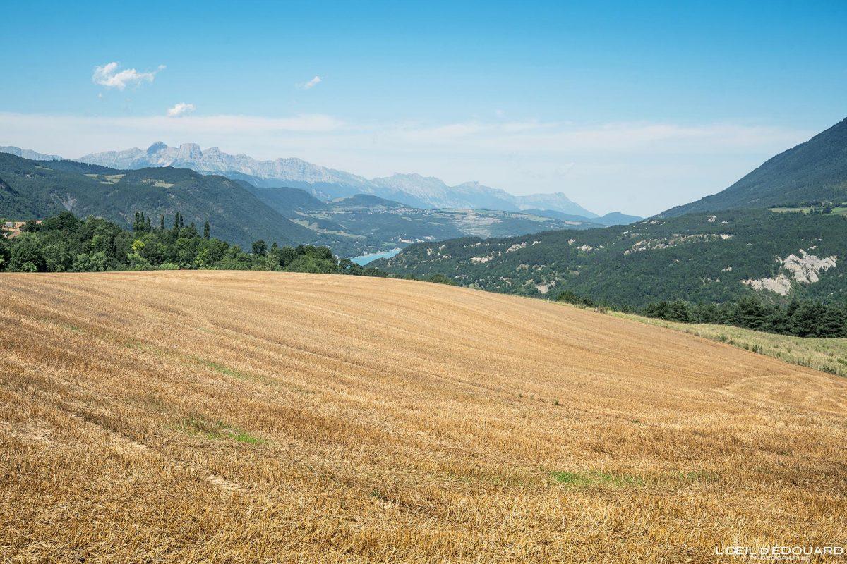 Massif du Vercors et Lac de Monteynard Avignonet Trièves Isère Alpes France Paysage Campagne Outdoor French Alps Country Landscape