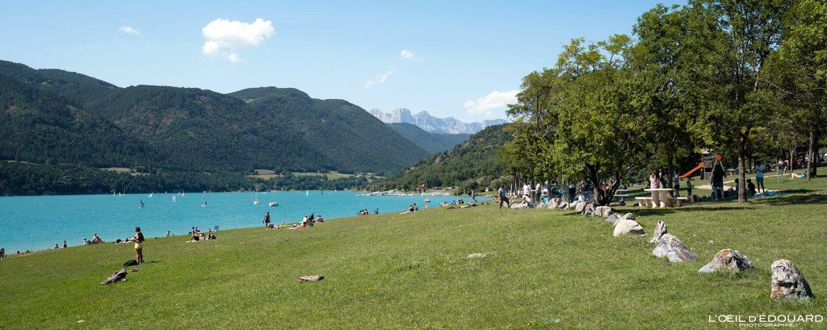 Plage de Savel Lac de Monteynard Avignonet Trièves Isère Alpes France Paysage Outdoor French Alps Lake Beach Landscape