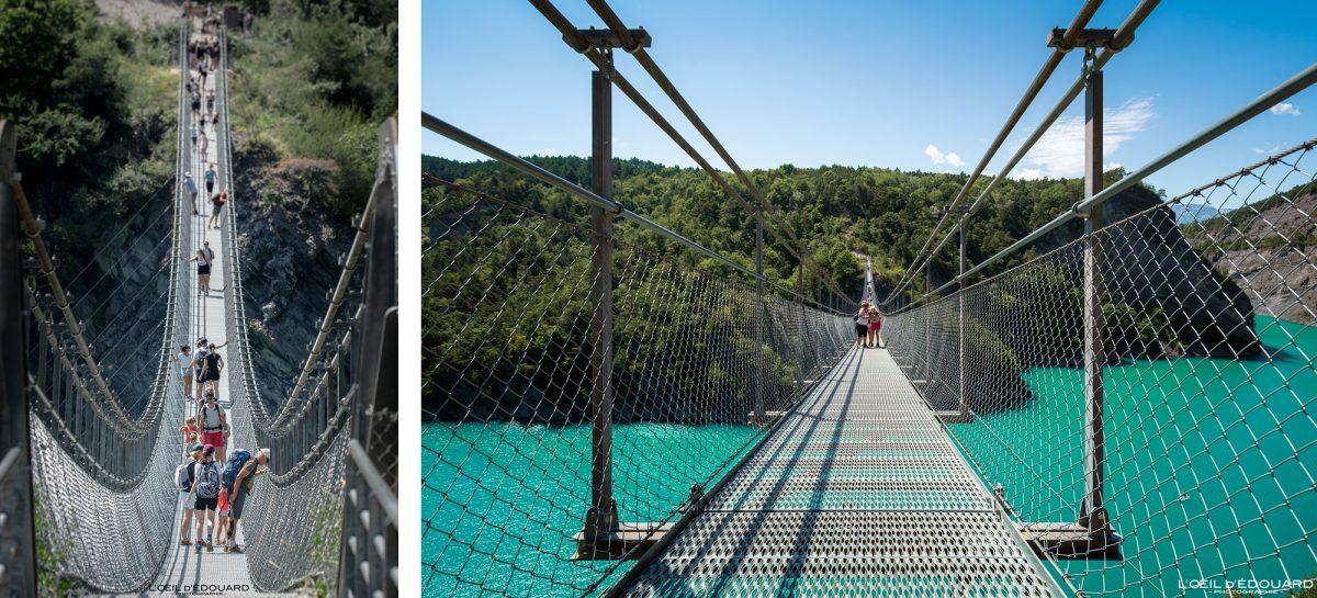 Passerelle Himalayenne de l'Ébron Lac de Monteynard Avignonet Trièves Isère Alpes France Pont suspendu Outdoor French Alps Bridge River Landscape