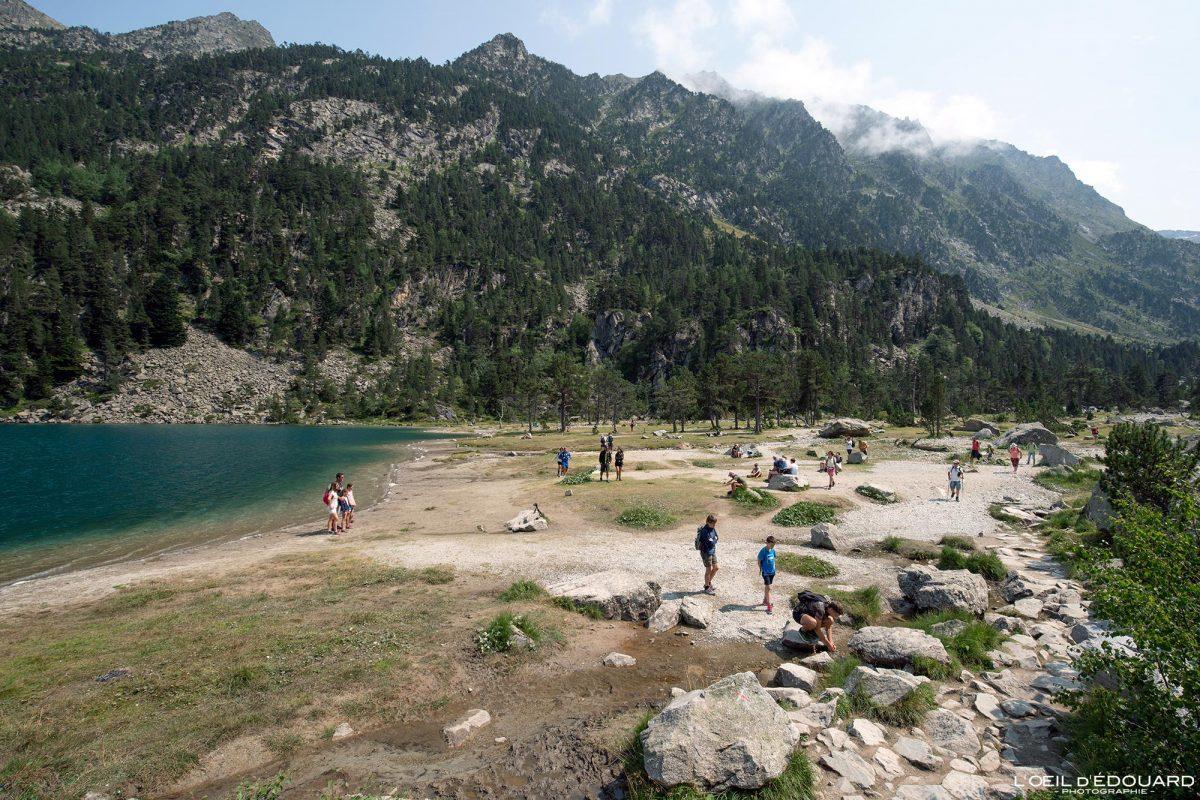 Plage Lac de Gaube Cauterets Pyrénées France Paysage Montagne Outdoor Lake Mountain Landscape